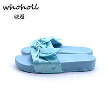 цена на Women Bow Summer Sandals Slipper Indoor Outdoor Flip-flops Beach Shoes Women Flower Slippers Ladies Flats Shoes Sapatos Mujer