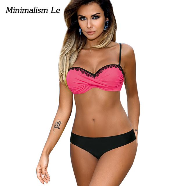 Minimalism Le Lace Patchwork Bikini Sexy Plus Size Push Up Swimwear Women Bathing Suit Solid Bikini Set 2017 New Swimsuit BK764