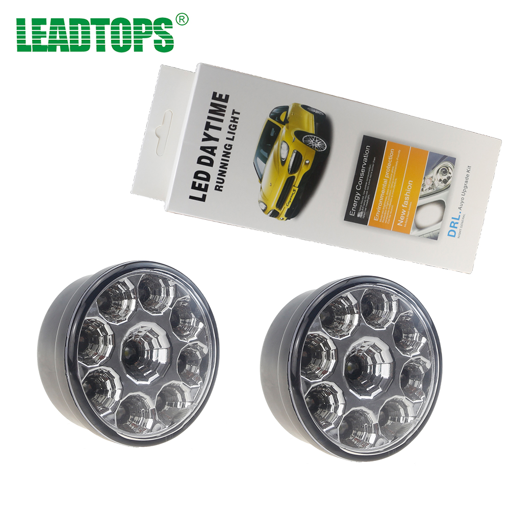 2PCS Car Daytime Running Light 9W LED Round  Fog Light  LED Auto DRL DC12V White  DIY Cree Chip for audi  EJ leadtops led daytime running light 2pcs 100% cob chip led diy drl fog car lights car day lamp 12v for audi vw toyota mazda be