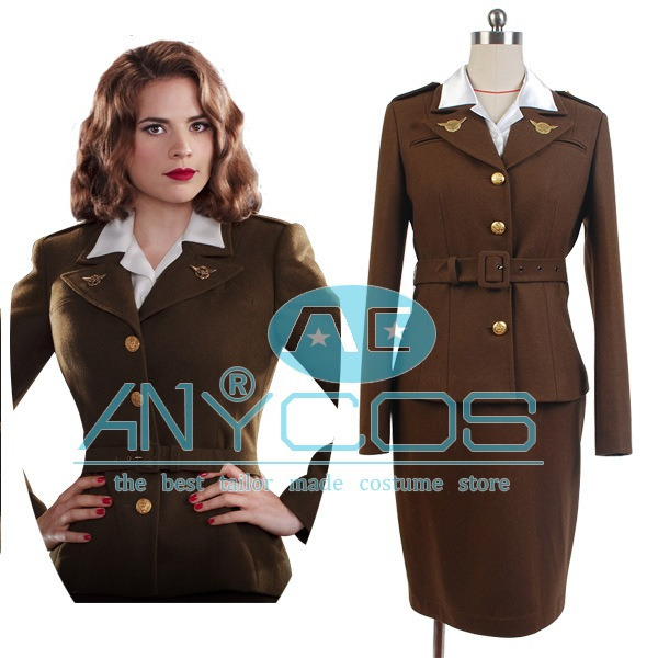 Hot Movie Captain America The First Avenger Agent Peggy Carter Costume Lady font b Women b