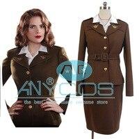 Sıcak Film Captain America: First Avenger Ajan Peggy Carter Kostüm Lady Kadınlar Takım Üniforma Elbise Cosplay Kostüm