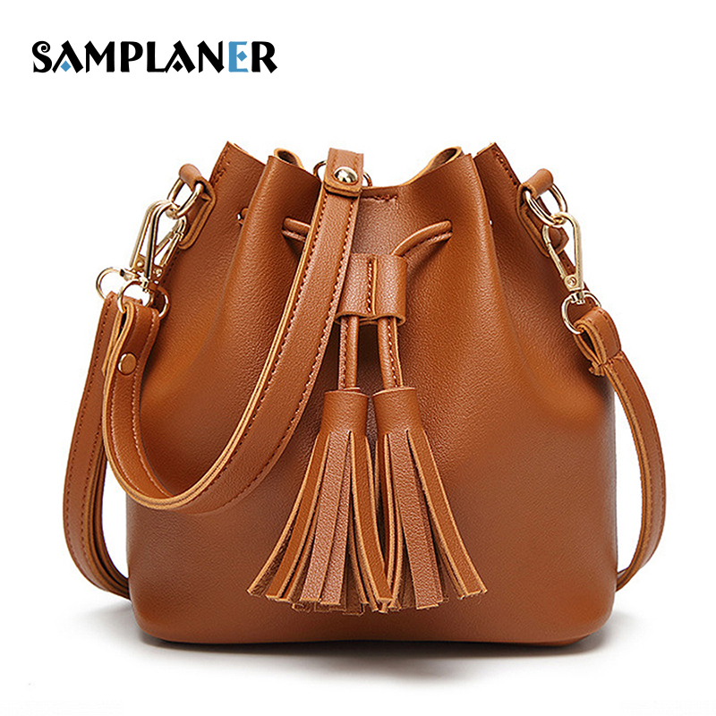 Samplaner Quality PU Leather Tassel Bucket Bags for Women Shoulder Bag Luxury Brand Female Bag Summer Girls Crossbody Bags Brown