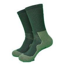1 пара, плотные махровые походные носки армейского зеленого цвета, мужские носки, 70% мериносовая шерсть, черные женские носки