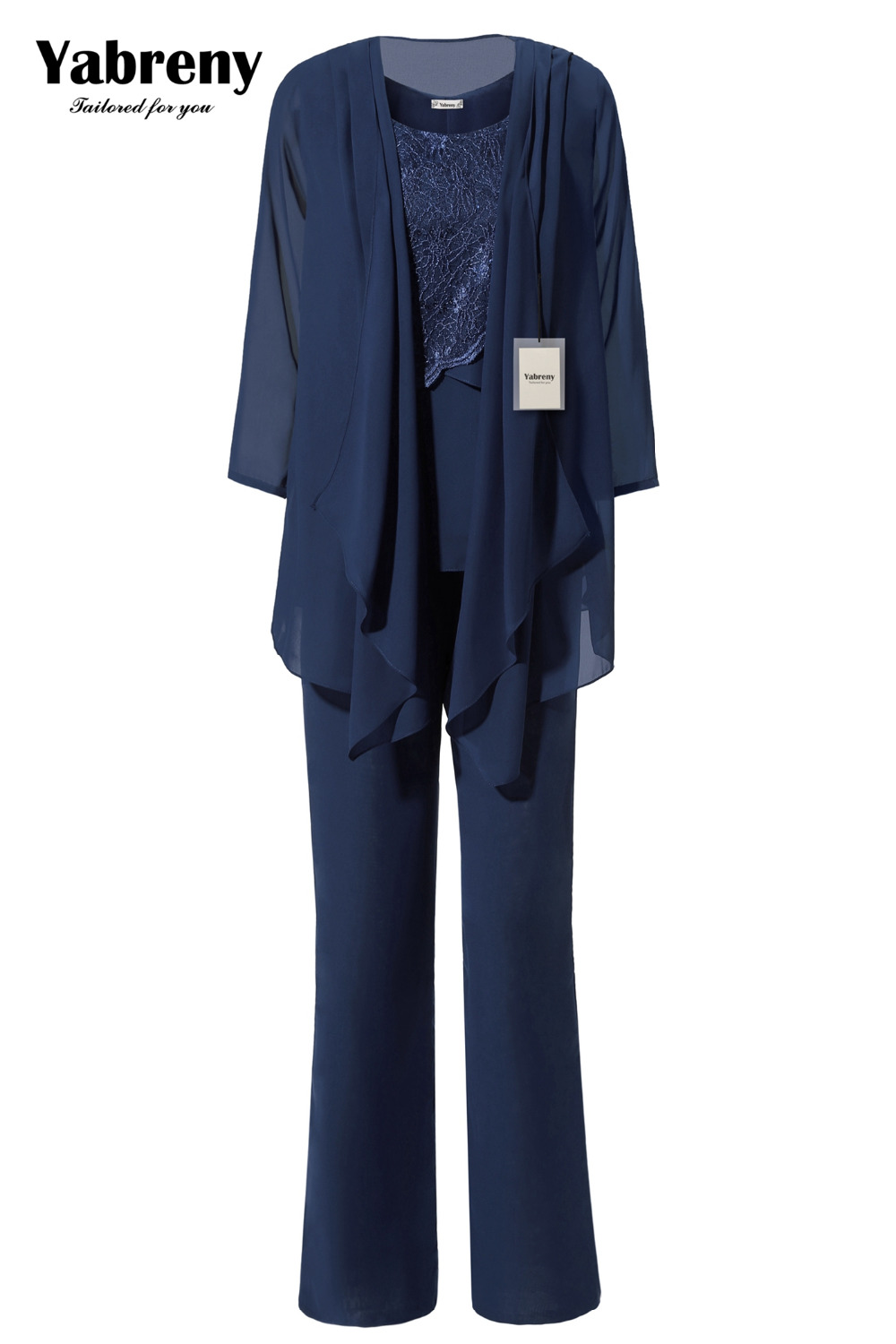Yabreny Dark Navy Chiffon Mother Of Bride Pantsuit Special Occasion Wear MT0017011-3