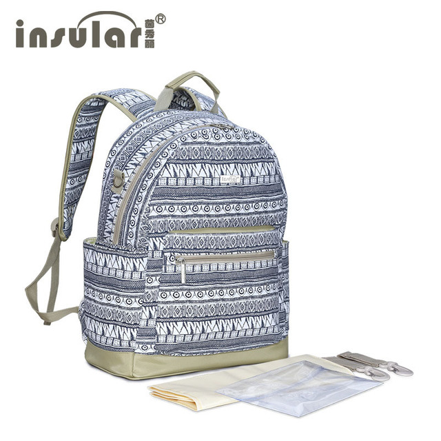 Insular Print Nappy Bags for Baby Stroller Large Capacity Diaper Bag Backpack with Accessories 1 PC