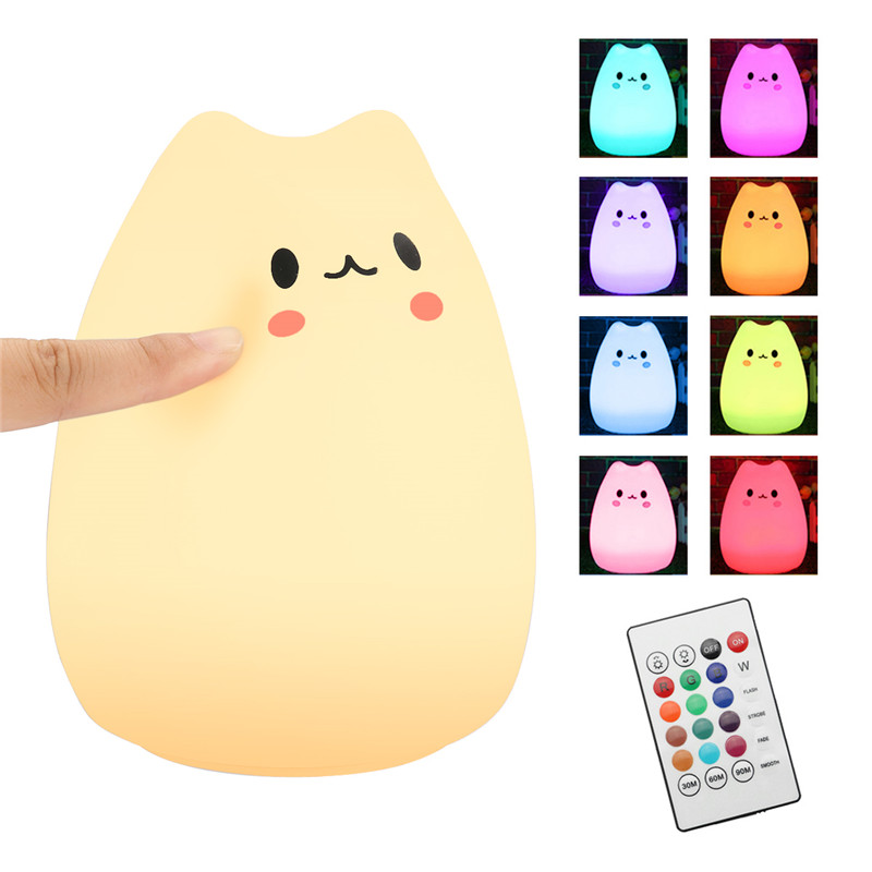Color Changing Silicone USB Rechargeable Children Animal Lamp Bedroom LED Night Light w/ Remote Soft Cartoon Baby Nursery Lamp