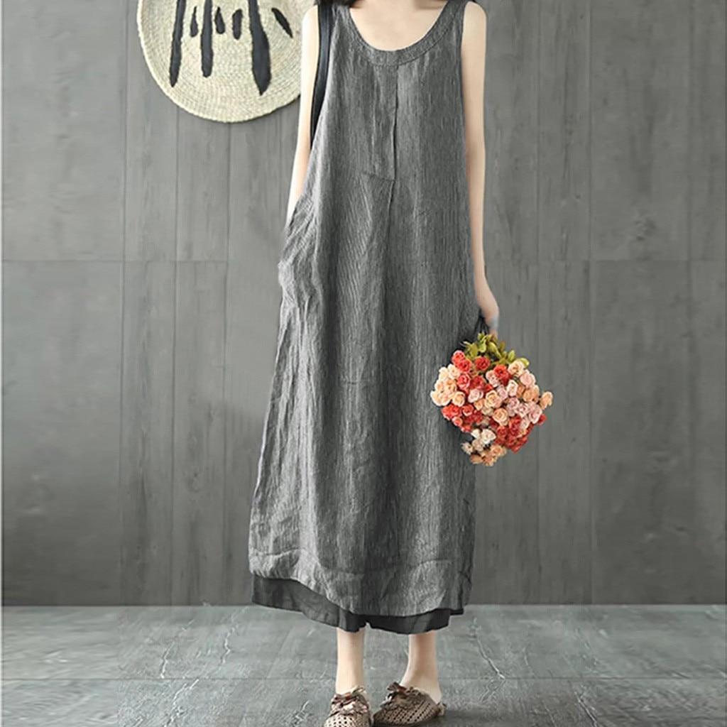 Women Summer Sundress Dress Linen Striped Literary Loose Splicing Sleeveless O-Neck Plus Size Casual Long Dress L507