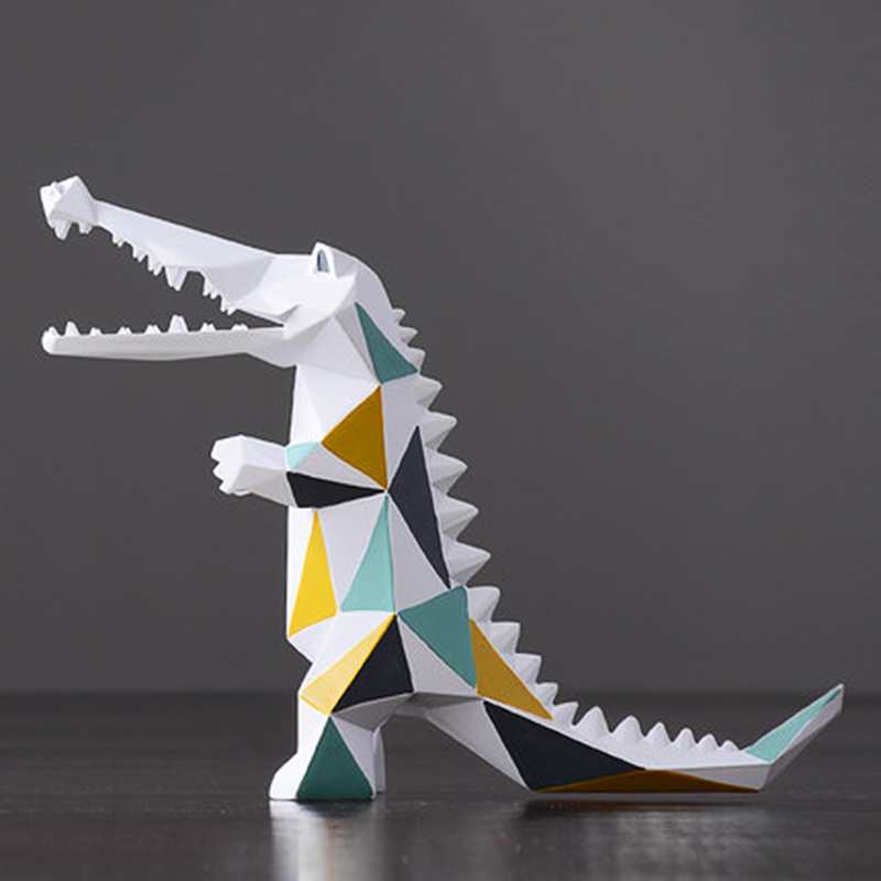 Abstract Crocodile Figurines Miniature Resin Statue Geometric Furnishing Home Decor Accessories Modern Christmas Gift Twisty Pet