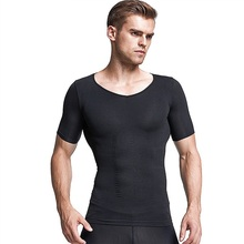 Undershirt T Shirts Short Sleeve Tops Men Sports Fitness Body Shaping Belt Slimming Shirt Abdomen Corsets Waist Trainer 2 Colors недорого