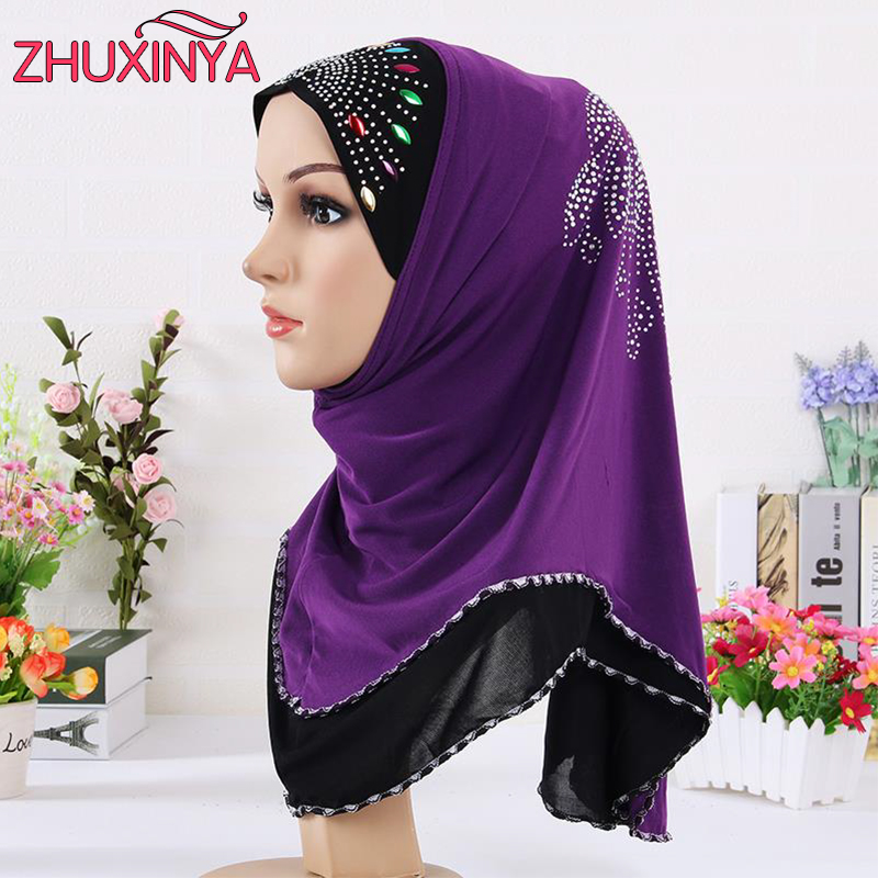 Best buy ) }}2017 New Women Multicolor Crystal Printed Muslim Hijab, Winter Warm Purple Lace