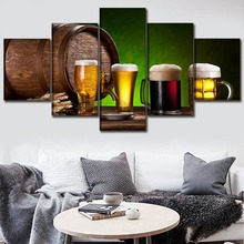 Canvas Posters Wall Art 5 Piece Food Painting HD Prints Alcohol Barrel And Beer Drink Pictures Home Decorative Framework