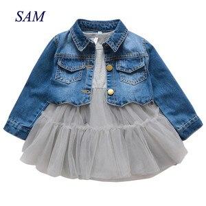Image 1 - 2019 Spring Girls Suits Childrens Fashion bottom dress + denim jacket 2 pcs Clothes Kids Mesh Dress Coat Clothing Sets