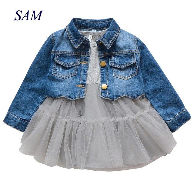 Trajes de primavera para niñas, Moda Infantil, vestido inferior + chaqueta vaquera, 2 uds. De ropa, vestido de malla, conjuntos de ropa, 2019