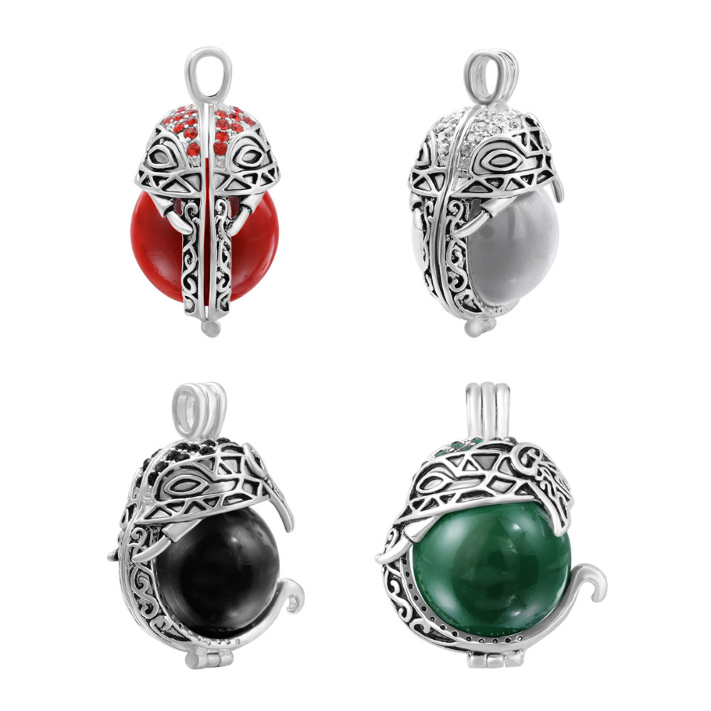 Wholesale Fun 4 Colors Baby Elephant Pendant Locket Cage with Crystal Harmony Pregnant Bola Ball Necklace