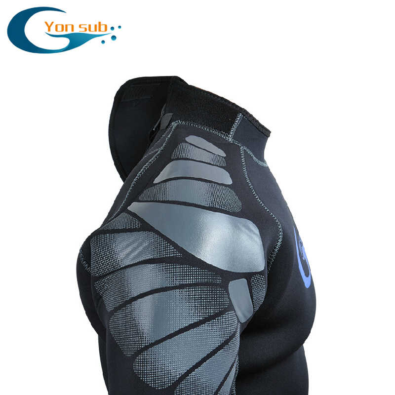 Yonsub Neoprene Scuba 5 Mm Pria Diving Wetsuit Surf & Spearfishing Bawah Air Berburu Hitam Renang Snorkeling Menyelam Suit YW5001