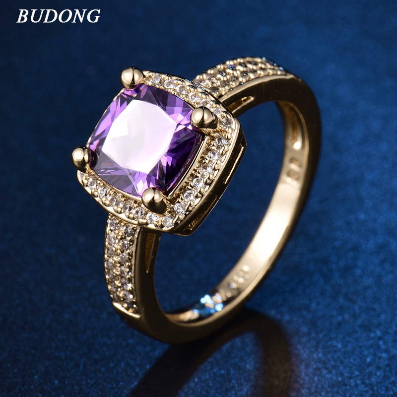 2017 BUDONG Terrific Ladies Finger Band Gold-Color Ring for Women Princess Purple Crystal Zircon Engagement Jewelry XUR350