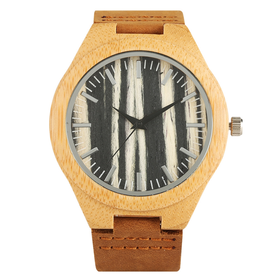 Wood Watches Men New Fashion Striped Coffee Rhombus Dial Analog Watch Genuine Leather Clock Man Quartz Wristwatches Reloj Hombre цена 2017