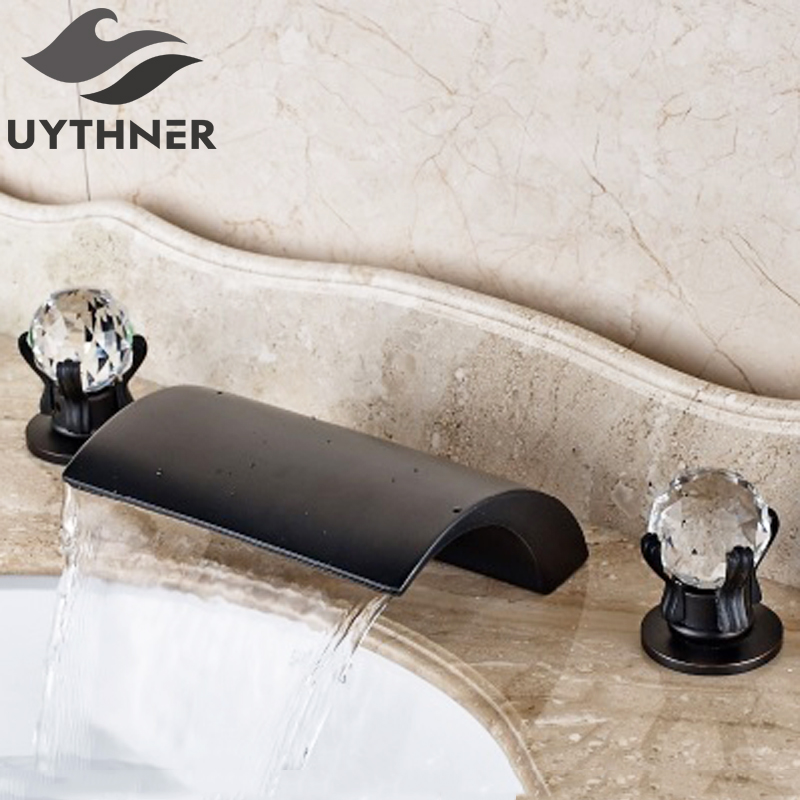 Uythner Deck Mounted Waterfall Spout 3pcs Basin Faucet Double Crystal Handles Mixer Tap Oil Rubbed Bronze цена