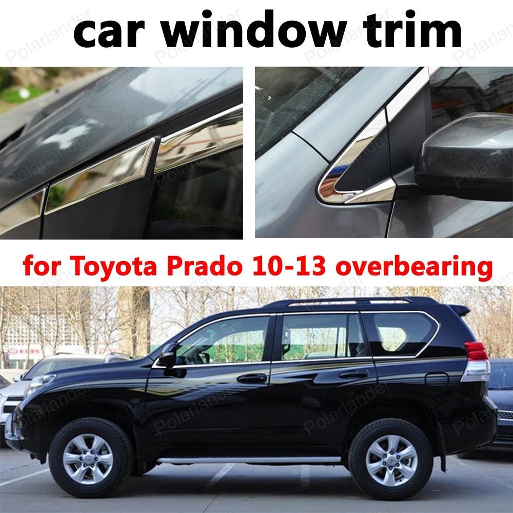 Voiture style fenêtre garniture voiture accessoires extérieurs décoration bandes pour t-oyota Prado 2010-2013 roulement acier inoxydable
