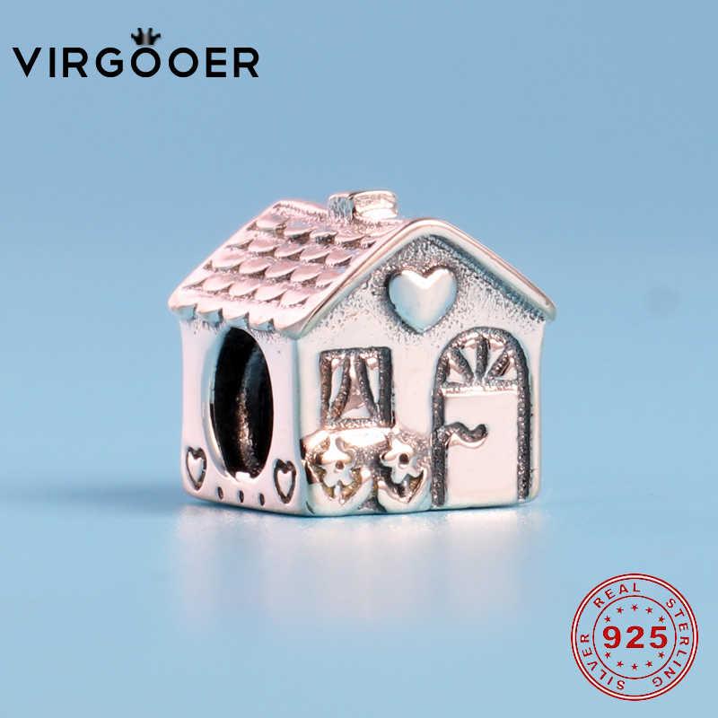 Virgooer Đáng Yêu Ngọt Ngào Nhà Nhà Nữ Bạc 925 Tự Làm Quà Tặng Hạt Nổi Mịn Phù Hợp Với Ban Đầu Pandora Vòng Tay Trang Sức Làm