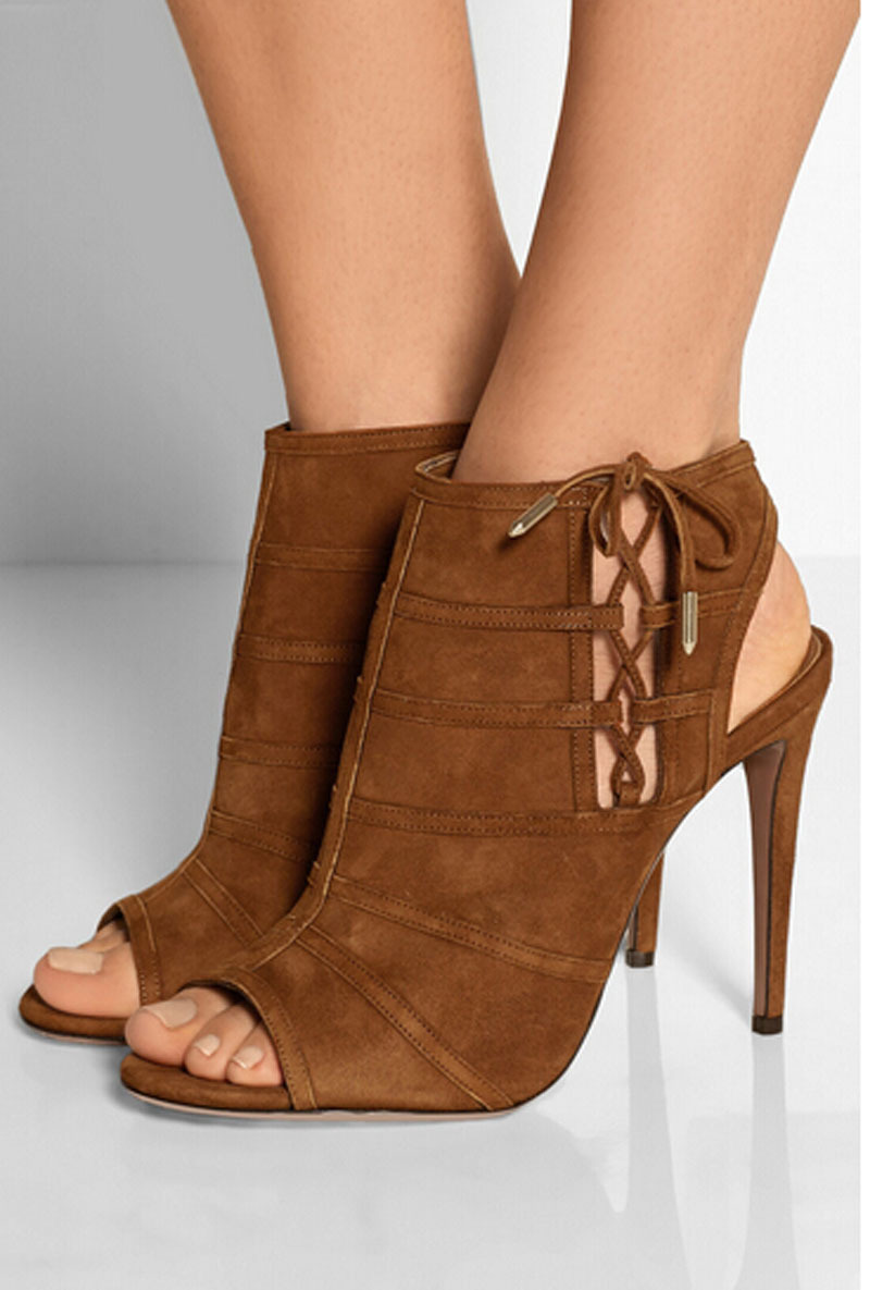 new fashion sexy woman open toe side lace up high heel gladiator summer boots brown suede leather women shoes front lace up casual ankle boots autumn vintage brown new booties flat genuine leather suede shoes round toe fall female fashion