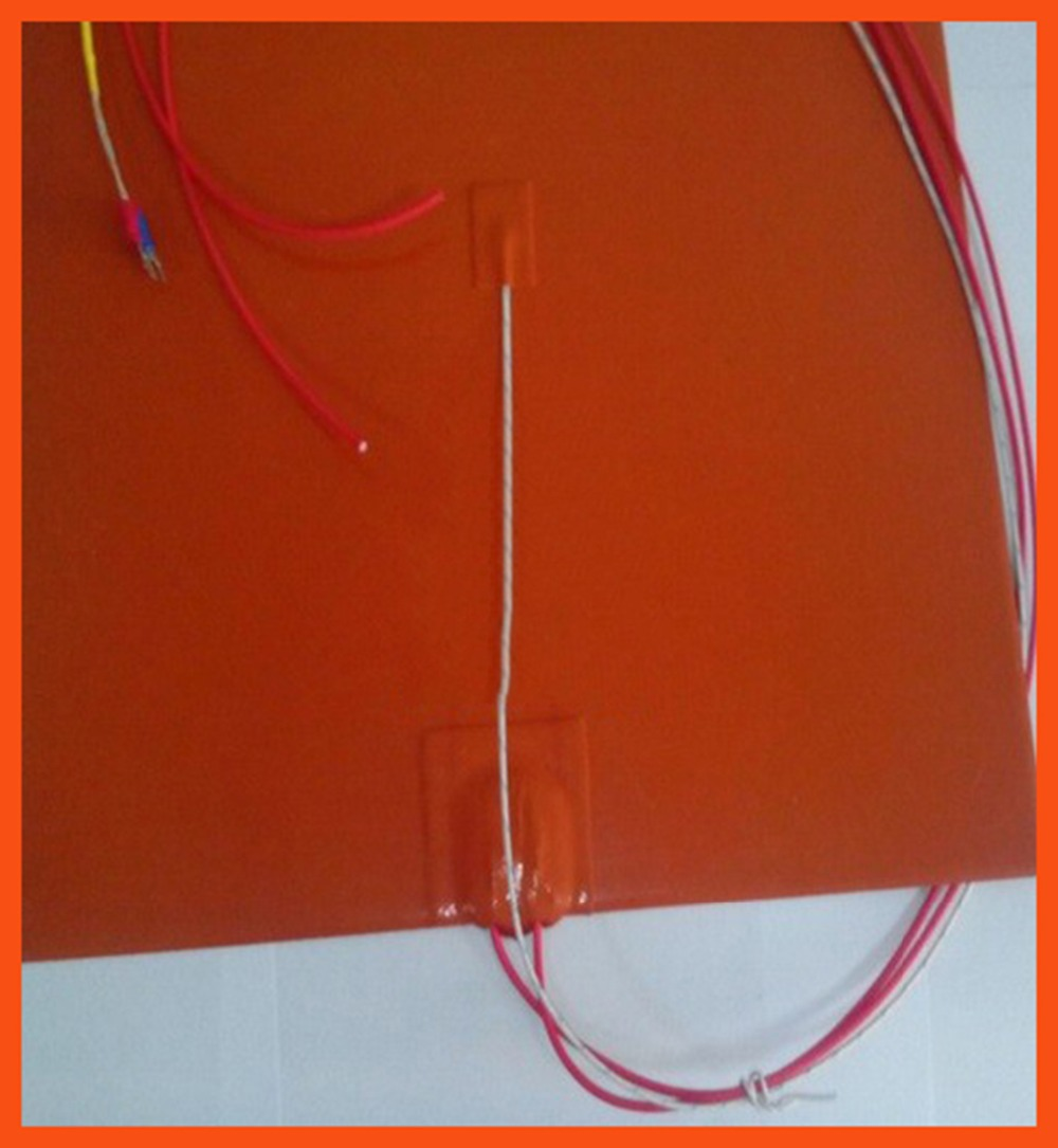100 x 200mm 100W 220V Silicone Rubber Heater with thermistor k-type Element heating mat silicone heating bed electric