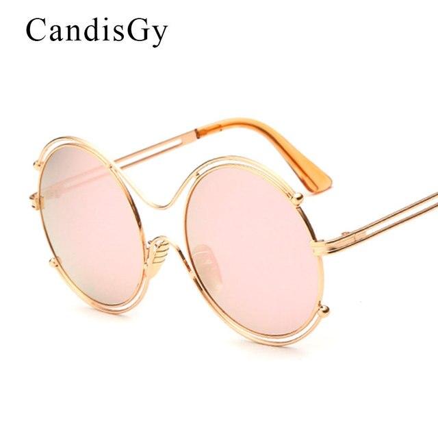 abd66903f CandisGy Overiszed grife Rodada Bola Oca Mulheres Hipster óculos de Sol  Espelho Do Vintage senhora UV400