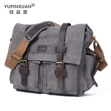 YUPINXUAN Pure Cotton Canvas and Cow Leather Retro Shoulder Bags for Men Vintage Messenger Bag Large Capacity Canvas Camera Bags
