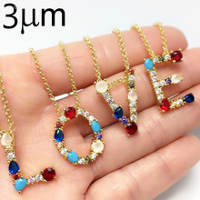 3UMeter Gold Initial Multicolor CZ Necklace Personalized Letter Name Jewelry For Women Accessories Girlfriend Gift