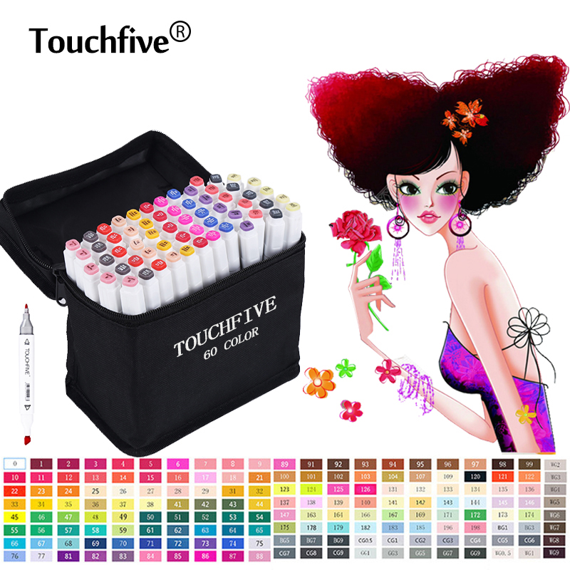TouchFive Marker Brush pen 168 Colors Art Marker Sketch Markers set Alcohol based For Manga School Office pens Design Supplies kicute 12pcs colorful artist marker double headed sketch alcohol based art marker pen set for office school art markers supplies