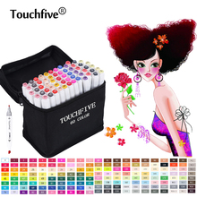 TouchFive 168 Colors Art Marker Set Sketch Copic Markers Alcohol Marker Set For Manga stabilo School Office pens Design Supplies free shipping six generations copic markers double alcohol oily school students professional design 36 48 80 colors manga draw