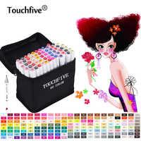 TouchFive rotulador 168 colores arte marcador marcadores set Alcohol basado en Manga escuela Oficina bolígrafos suministros de diseño