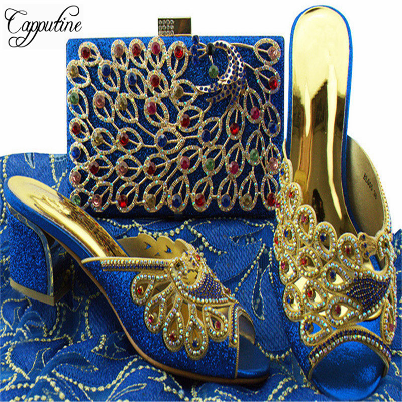 Capputine 2018 Nigeria Summer Woman Royal Blue Shoes And Bag Set Italian Style Shoes with Matching Bags Set For Party YL005 africa style pumps shoes and matching bags set fashion summer style ladies high heels slipper and bag set for party ths17 1402