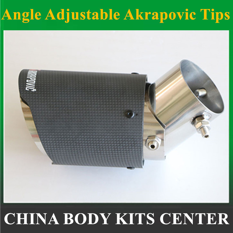 1x Angle Adjustable Akrapovic Tips Carbon Fiber Car font b Exhaust b font Pipe For Renault