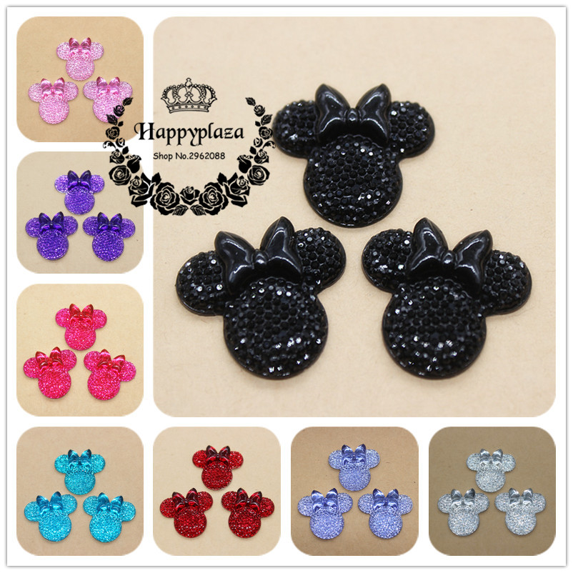 20pcs Cute Resin Shiny Rhinestone Red/Pink/Black/White/Blue/Purple Minnie Mouse Flatback Cabochon DIY Crat Decoration,26*27mm