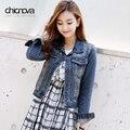 Винтаж весна осень женщины джинсы пальто с длинным рукавом негабаритных джинсовый жакет Кардиган М-4XL FS0203