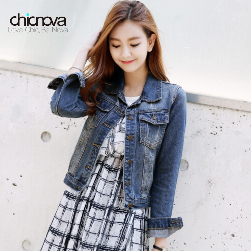 Vintage jarní podzim ženy džíny kabát s dlouhým rukávem nadměrné džínové bundy svetr S-4XL FS0203