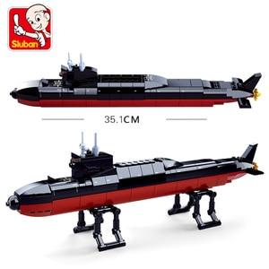 Image 4 - ship Carrier military submarine sets boat Battleship warship model Building kits Blocks bricks kid toys