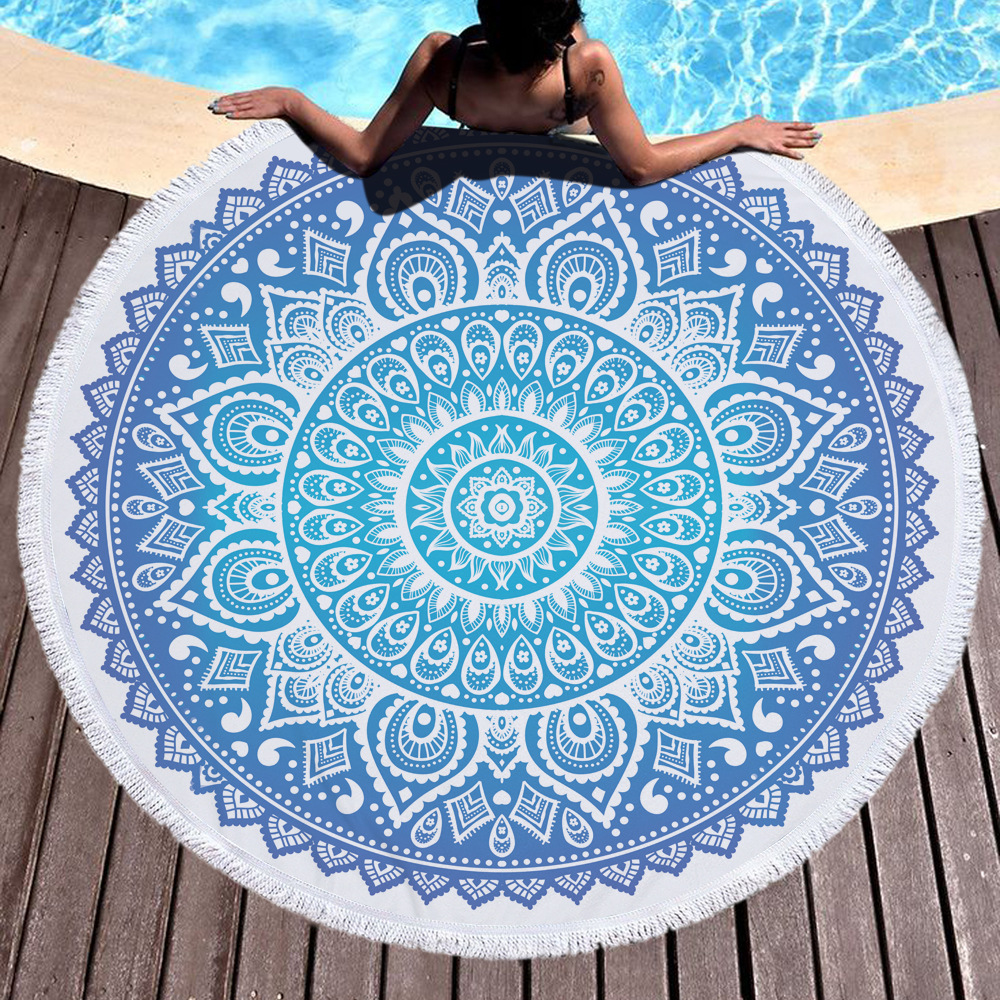 Customize Beach Towel Round 17 Styles Retro Series Printing Tassel Soft Summer Swimming Towel Chair Cover Picnic Mat