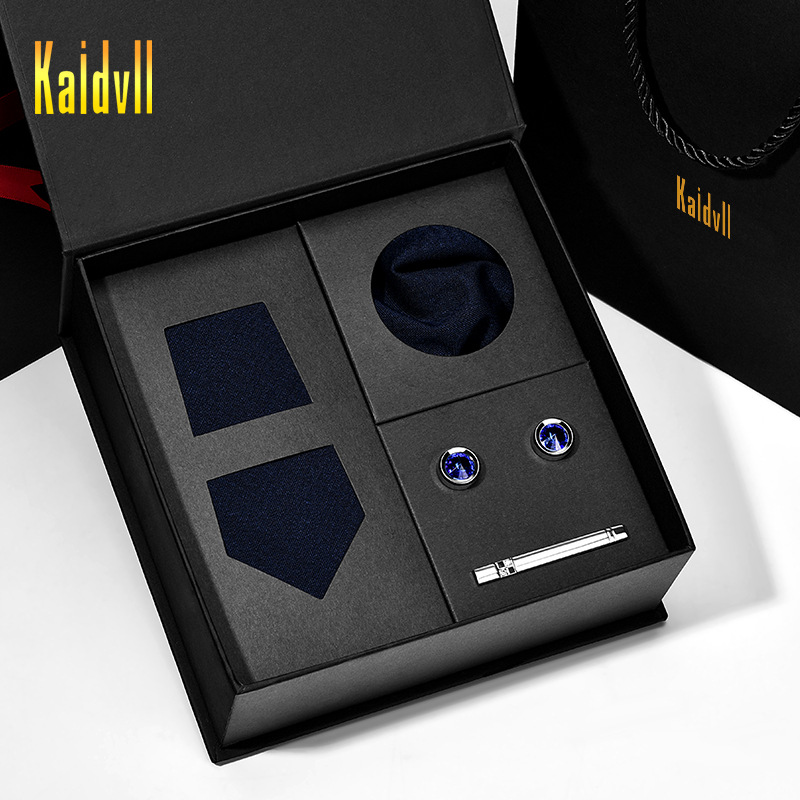 Wool Tie Set with Gift Box Neck Clips Corsage Brooch Tie Clip French Shirt Cufflinks 4 Piece Hardcover