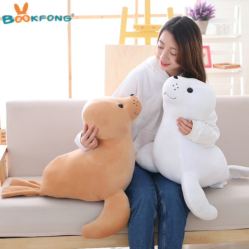 35/60cm Kawaii Sea Lion Plush Toy Soft Stuffed Pillow Cute Cartoon Animal Doll Seal Toy Kids Children Birthday Gift 20cm cute hamster mouse plush toy stuffed soft animal hamtaro doll lovely kids baby toy kawaii birthday gift for children