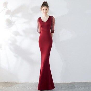 Sladuo Wine Red Sexy Transparent Half Sleeve Floor Length Mermaid Elegant Luxury Evening Party Dress Sexy Women Nightclub Dress
