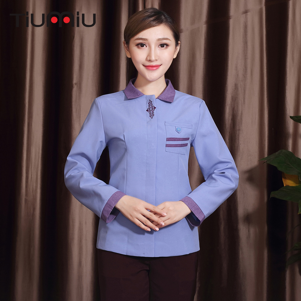 Spliced Color Turndown Collar Cleaning Workwear Uniform Long Sleeves Housekeeping Cleaning Service Uniforms Women Waiter Jackets