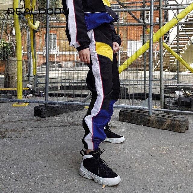 Realpopu Patchwork Long Harem Pants Women Sweatpants High Waist Side Striped Black Trousers Woven Elastic Waist Fitness Workout