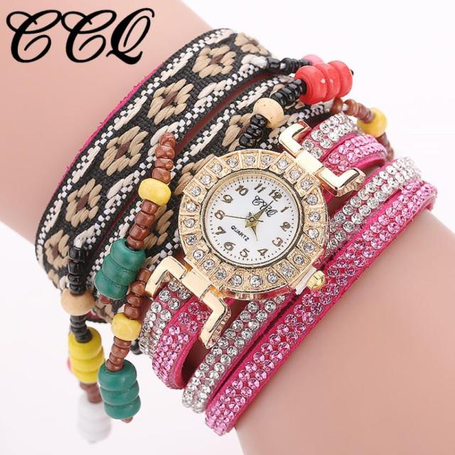 CCQ Women Fashion Casual Analog Quartz Women Rhinestone Bracelet watches women f