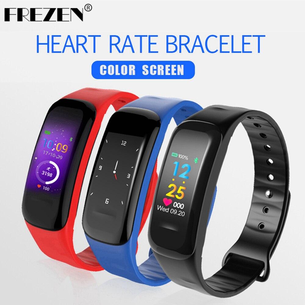 FREZEN NEW C18 Color Screen Band Smart Bracelet Blood Pressure Oxygen/Heart Rate Monitor Fitness Tracker Sport Smart Wristband
