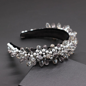 Image 3 - Leaf rhinestone geometric water drop headband Baroque fashion personality rhinestone flower wild geometric headband  858