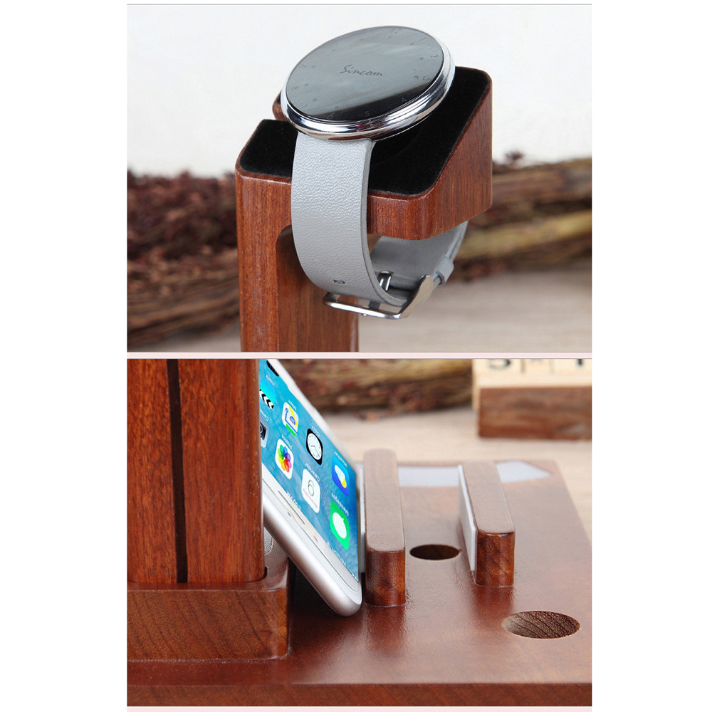 ФОТО Wood phone support LED table lamp magnetic 360 rotating watch charging seat
