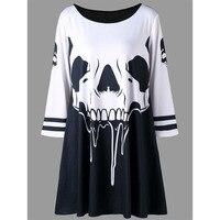 CharMma Plus Size XL 5XL O Neck Skull Print T Shirt Women Autumn 2017 Fashion Tunic
