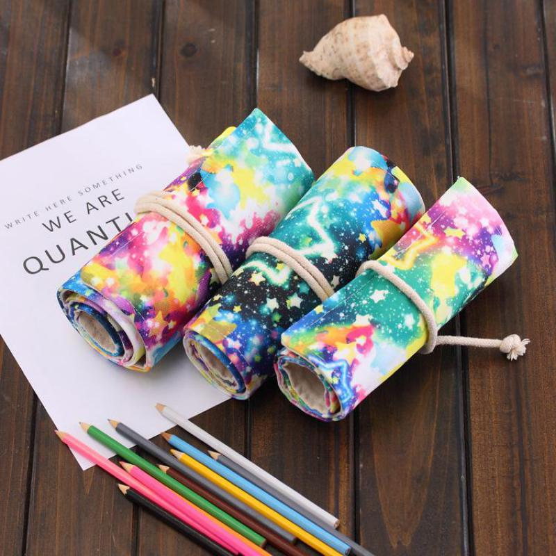 Starry Sky Canvas School Pencil Case 36/48/72 Holes Roll Up Pencil Bag Portable Pencil Box School Supplies Material Escolar good quality 36 48 72 holes canvas pencil case roll up sketch painting pen box school office pencil stationery bag b066